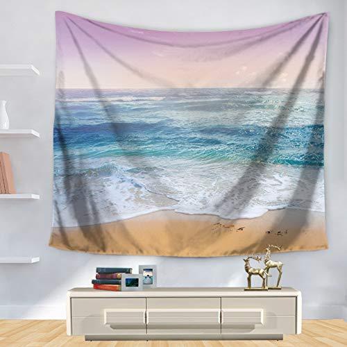 WERT Hermosa Vista al mar Olas del mar Tiburón Tapiz para Colgar en la Pared Toalla de Playa Sol Decorar Sala de Estar Oficina Almohadilla para Dormir A1 200x150cm