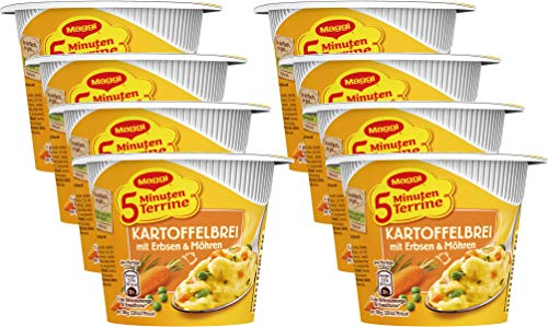 Maggi 5 Minuten Terrine Kartoffelbrei mit Erbsen und Möhren, 43g Becher, 1 Portion, 8er Pack (8 x 43 g)