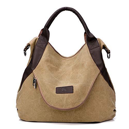 Canvas Handbag Shoulder Bag Women Top Handle Tote (khaki)