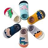 Adorel Calcetines Zapato Antideslizantes para Bebé Lote de 6 Dinosaurios 1-2...