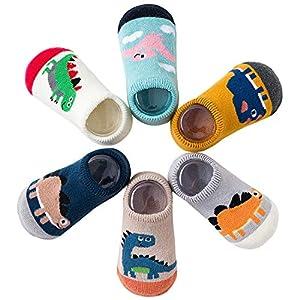 Adorel Calcetines Zapato Antideslizantes para Bebé Lote de 6 Dinosaurios 1-2 Años (Tamaño del Fabricante M)