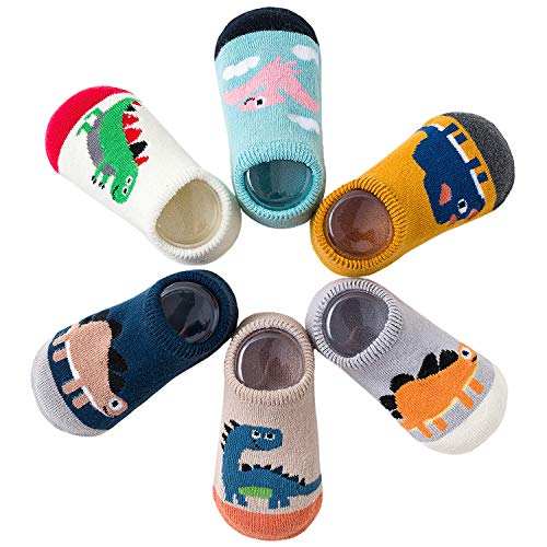 Adorel Baby Socken Anti-Rutsch Kinder Stoppersocken 6er-Pack Dinosaurier Paradies 6-12 Monate (Herstellergröße S)