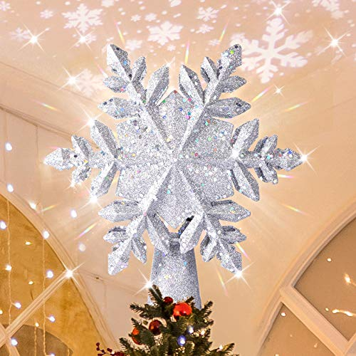 INAROCK Christmas Tree Toppers LED Rotating Snowflake Projector Tree Top 3D Glitter Lighted Hollow Snow Shape Tree Topper for Xmas Tree Decorations