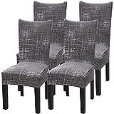 Fuloon Stuhlhussen 4er Set Universal Stretch Stuhlkissen Sessel überzug stuhlbezüge Protector...