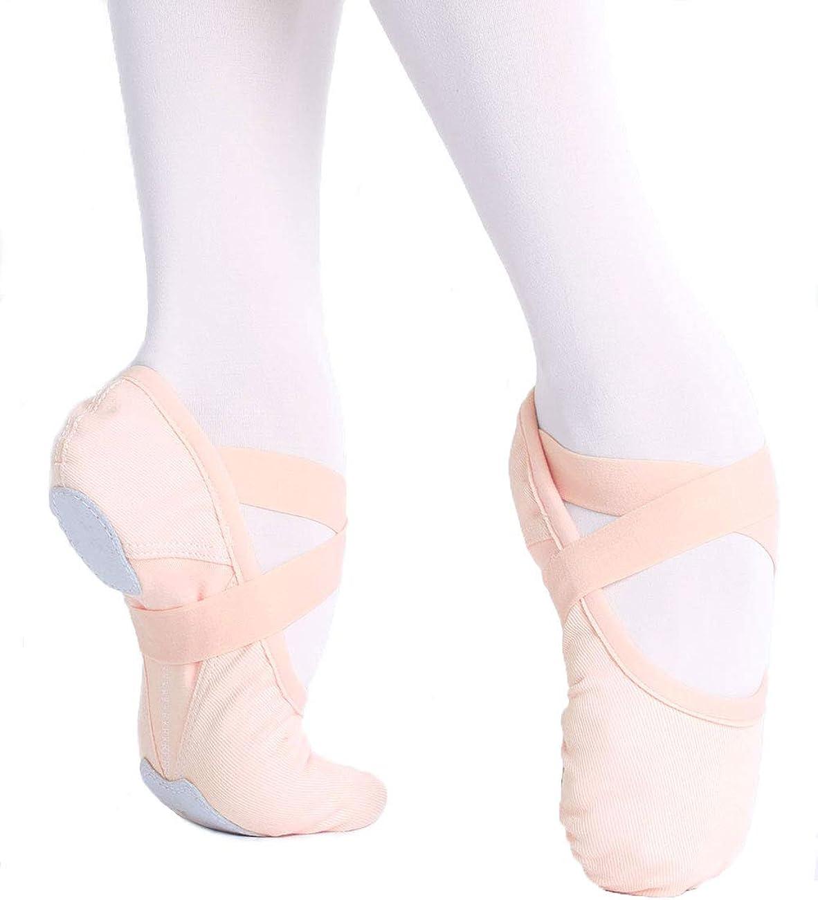 Girls Women Elastic Canvas Ballet Shoes Soft Split Sole Dance Slippers for Gymnastics, Yoga