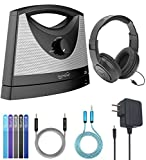 Serene Innovations BT-100 TV SoundBox Wireless TV Speaker Bundle with SR350 Headphones, Blucoil 6' 3.5mm Extension Cable, 5-FT Audio Aux Cable, and 5X Cable Ties