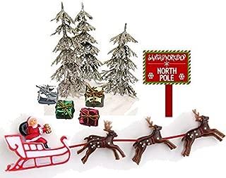 CakeSupplyShop Mini Santa Sleigh and Reindeer Miniature Christmas Holiday Trees & Presents Cake Decoration Topper Toys