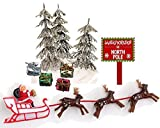 CakeSupplyShop Mini Santa Sleigh and Reindeer Miniature Christmas Holiday Trees & Presents Cake Decoration Topper Toys