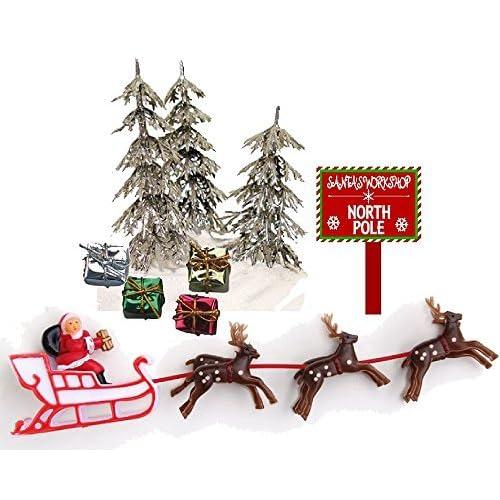 Amazon Com Cakesupplyshop Mini Santa Sleigh And Reindeer