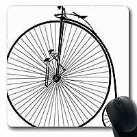 コンピューター用マウスパッドレトロヴィンテージブラックホワイト古いVelocipede自転車歴史マシンバイク時間長方形7.9 X 9.5インチ滑り止め長方形ゲーミングマウスパッド