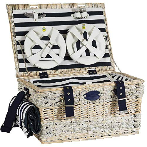 Les Jardins de la Comtesse - marine picknickmand - Compleet voor 6 personen - geïsoleerde koeler/waterdicht tafelkleed - Keramische platen/wijnglazen van glas- 50 x 35 x 26 cm
