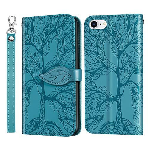 AsWant Hülle für iPhone SE 2/iPhone 7/iPhone 8 Geprägte Baum PU Leder Tasche Hülle Brieftasche Flip Schutzhülle Magnetisch Stand Funktion Handyhülle für iPhone 7 / iPhone 8 / iPhone SE 2 Gen - Blau