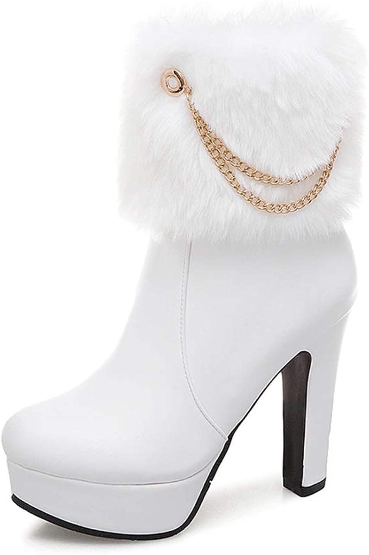T-JULY Women Mid Calf Boots Platform Plush Fur Winter High Heel Boots Elegant Ornate shoes Female Footwear