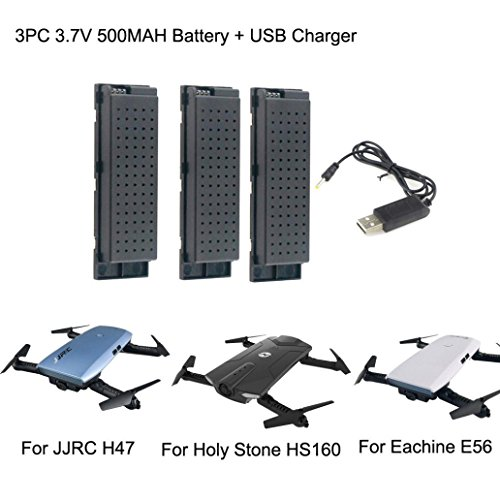 Drone Battery -3PC 3.7V 500MAH Lipo Battery - High Capacity Lipo Battery for Eachine E56 JJRC H47 RC Quadcopter+ USB Charge (Black)