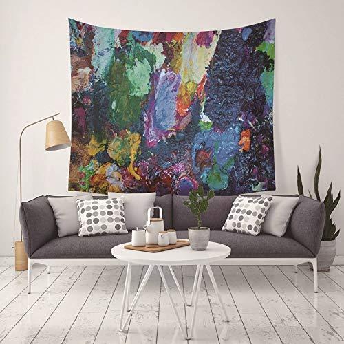 Daesar Tenture Murale Yoga, Tentures Occultants Peinture À l'huile de Pierre de Couleur Tapis Yoga 130x150CM Multicolore Tapisserie Polyester