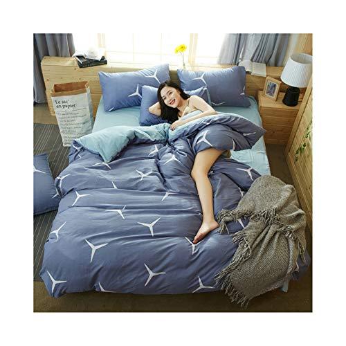 AmDxD Bettlaken, Bettbezug und Kissenbezügen aus Polyester Elegant Design 4 Teilig Spannbetttuch Bettwäsche-Sets Blau
