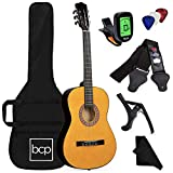 Best Choice Products 38in Beginner All Wood Acoustic Guitar Starter Kit w/Gig Bag, Digital Tuner, 6 Celluloid Picks, Nylon Strings, Capo, Cloth, Strap w/Pick Holder - Natural
