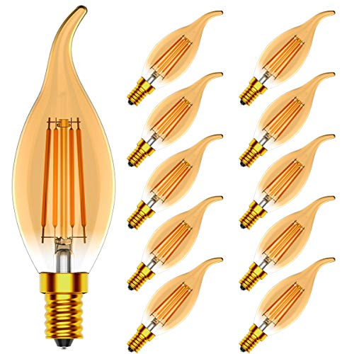 Tuoplyh Vintage Dimmbar E14 LED Filament Windstoß Kerzelampe, 4W Ersetzt 40 Watt Glühlampe, Warmweiß 2700K,CRI >80, 400LM,10er-Pack