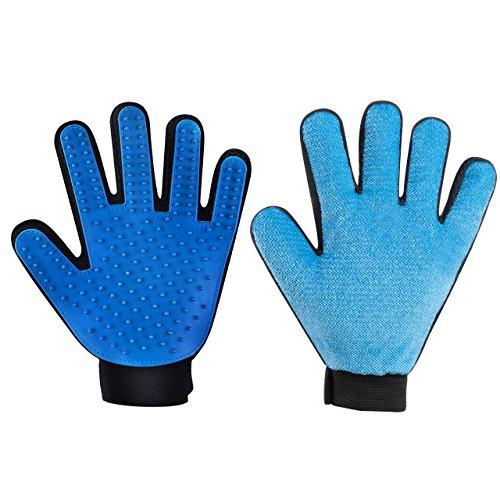 OMORC 2PCS Haustier Bürsten Handschuhe, Doppelseitig Haar Entferner zum Hund Katze, Handschuhe Haarentferner für Fellpflege, Hunde Massage Bürsten, Fell Werkzeug für Lange & Kurze Pelz