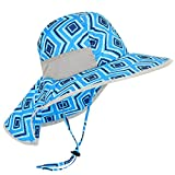 SENWAI Kids UPF 50+ Sun Protection Hat with Neck Flap Mesh Large Brim Quick-Drying Beach Cap for Fishing