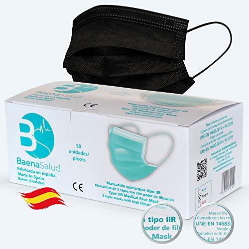 BAENA SALUD 50 Mascarillas Quirúrgicas, desechables, Tipo IIR, en color negro, filtración (BFE) 98%, hechas en España