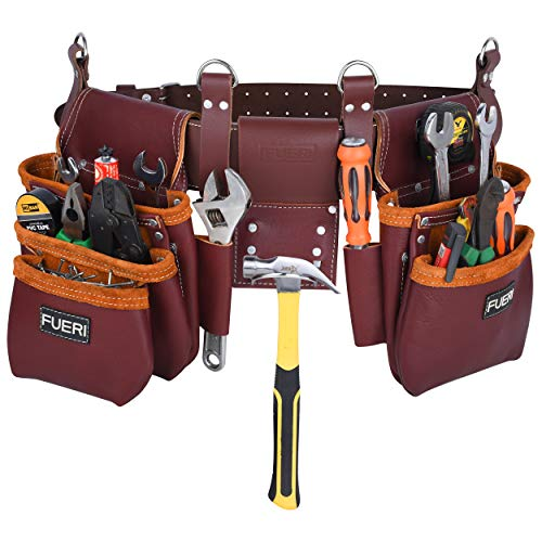 tool with pouches Tool Pouch Framers Combo Tool Bag Tool Kit   Heavy Duty Pro Gauge Leather, Rig Riveted Reinforcement Organizer Tool Holder   Tool Organizer Drill Holster Multipurpose 17 Pocket (Excluding Tools)