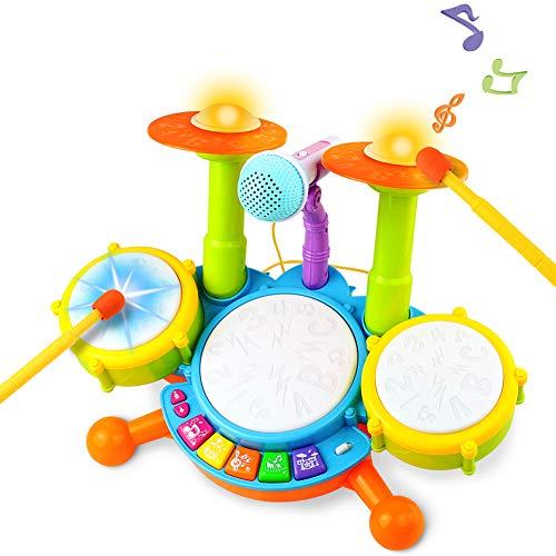 Tambour Jouet Enfants Instruments de Musique pour Les Tout-Petits Avec des Comptines Kit de Batterie lectronique ÉIdée Cadeau pour Bebe Filles Garçons, 3 Ans
