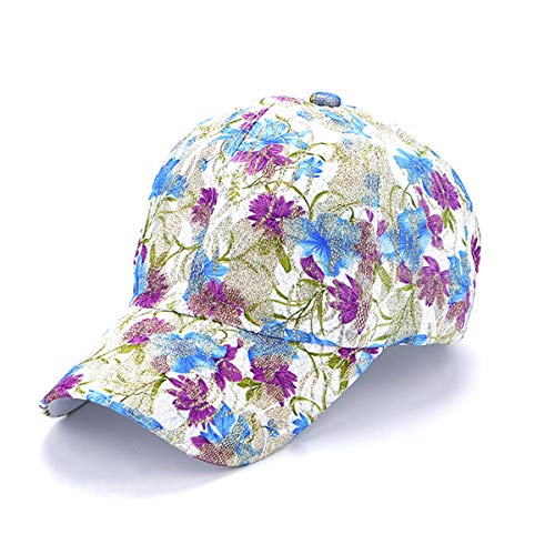 Queenbox Simple Washed Denim & Cotton Einfarbig & Blumen Blumenmuster Baseball Cap Outdoor Herren Damen Kind Wild Leisure Visor Hat, Flower 03