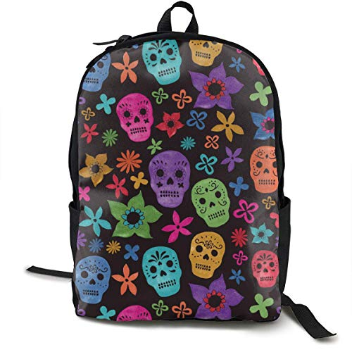 Colorful Flower and Skull Travel Computer Bag Laptop Backpack Unisex, School College Fits 15'' Laptop