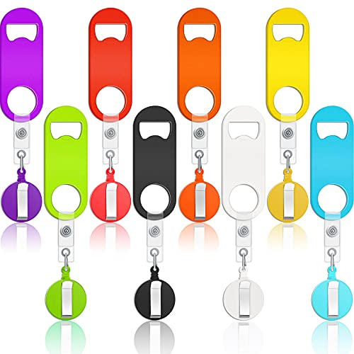 8 Pieces Flat Bottle Opener Retractable Beer Opener Bartender Beer Bottle Opener Mini Bottle Opener and 8 Pieces Round Badge Reel Badge Clips Holder for Kitchen Restaurant Home Anniversaries Supplies