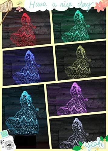 Nachtlampje prinses Belle Model Light Touch-afstandsbediening/kleurverandering licht/nachtlicht/nieuwjaarsgeschenk/3D-fantoomlamp Afstandsbediening.