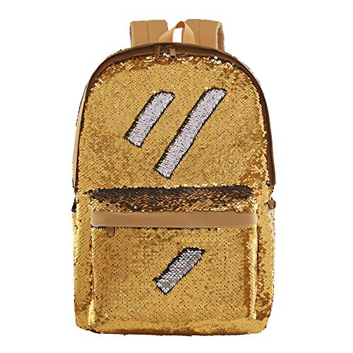 Flip Sequin School Backpack Bookbag for Boys Girls Kids Teen Cute Glitter Sparkly Book bags Back Pack (Gold)