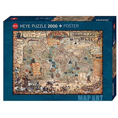 Heye 29847 Pirate World Standart 2000 Teile, Map Art, inkl. Poster, Green