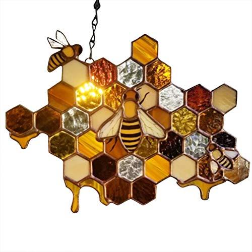 LOTONJT Bienenkönigin schützen Honig Sonnenfänger Honigwaben Hummeln Honig Sonnenfänger Handgemachte Heimdekorationen Wandkunst für Zuhause Fenster Garten Wandbehang Ornament Bienen Kunst Dekor