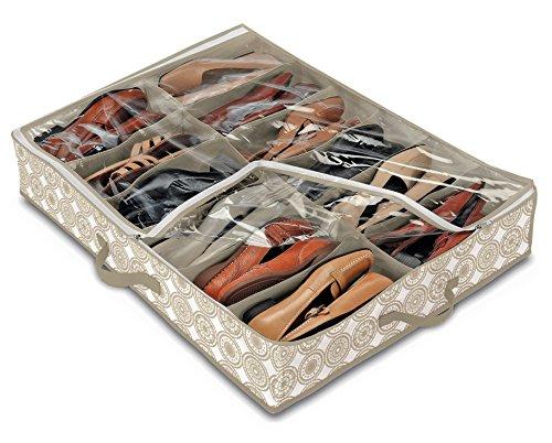 Domopak Living 8001410074294Funda Zapatos 12Compartimentos Elle, plástico, Blanco/Beige, 50x 75x 15cm