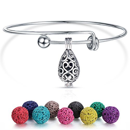 Droplet Aromatherapy Essential Oil Diffuser Bracelet Cage Locket Pendant Expandable Wire Bangle with Lava Beads