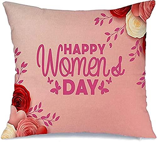 BONRI Funda de almohada decorativa de poliéster para sofá de 8 Romance Happy Graceful Anniversary Día Internacional March Nature Roses Flower Valentine Origami, funda de almohada cuadrada (45 x 45 cm)