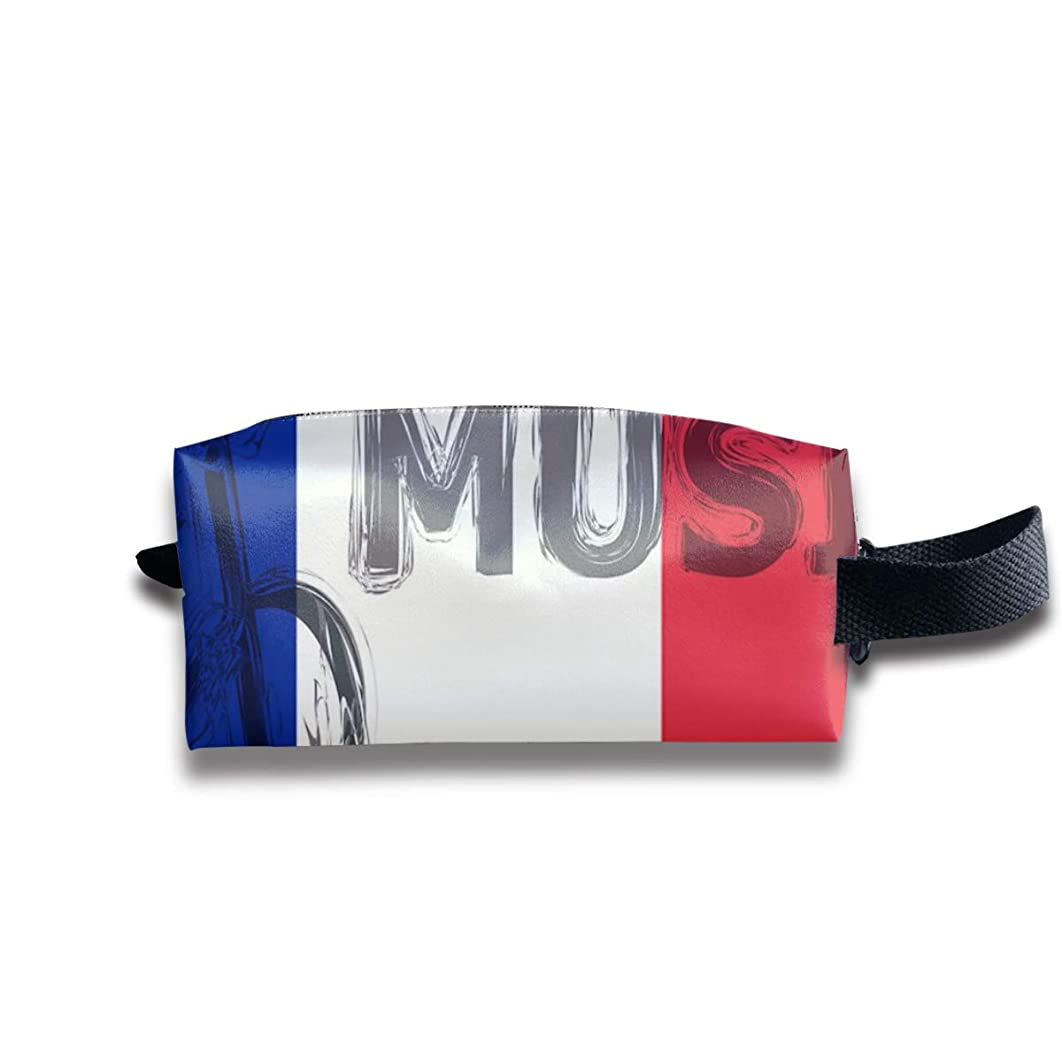 VASYLLAPTIEV Cosmetic Bags The France Flag Music Coin Purse Pouch Waterproof Multi-Purpose Storage Tote Tools Bag with Zipper