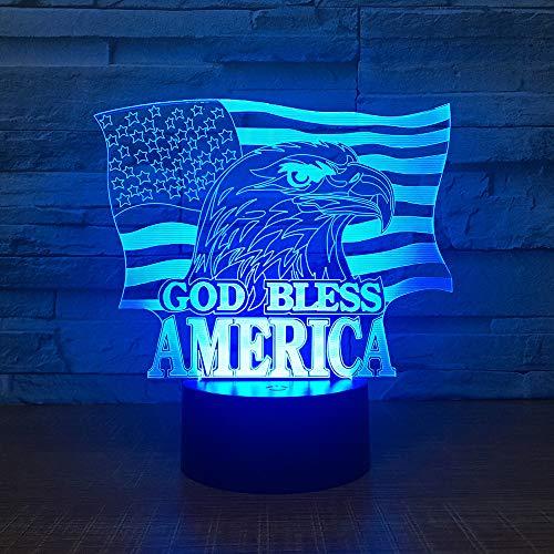 Gott segne Amerika und 3D LED Nachtlicht USB Tischlampe Kinder Geburtstag Geschenk Nachtdekoration am Bett
