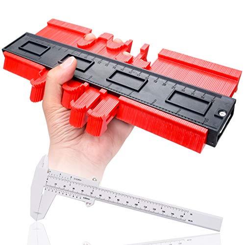 Sukudon Medidor de contorno de 25,4 cm, medidor de perfil, regla de plástico, medidor de duplicación de contorno, marco circular para medición precisa de azulejos, herramienta de marcado