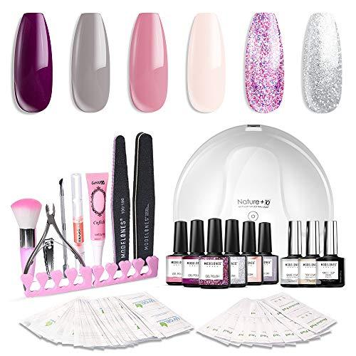 Modelones Gel Nail Polish Kit with UV Light - 4 Elegant Colors and 2 Glitter Gel, Matte Top Coat,...
