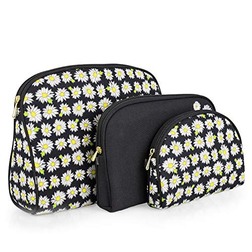 Once Upon A Rose 3 Piece Cosmetic Bag Set, Purse Size Makeup Bag for Women, Toiletry Travel Bag, Makeup Organizer, Cosmetic Bag for Girls Zippered Pouch Set, Large, Medium, Small (Daisy Black)