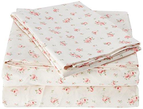 Amrapur Microfiber Sheet Set | Luxuriously Soft 100% Microfiber Rose Printed Bed Sheet Set with Deep Pocket Fitted Sheet, Flat Sheet and Pillowcase , 3 Piece Set, Twin