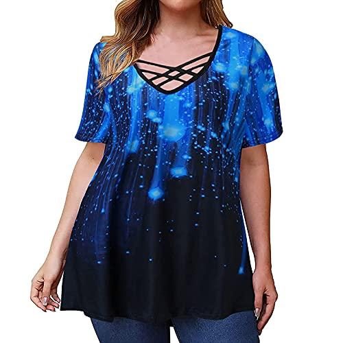 Bsemax 2021 Camiseta de mujer elegante cuello redondo grande de manga corta, informal, parte superior de deporte para mujer, elegante parte de arriba para otoño y verano, moda y comodidad., azul, XXL