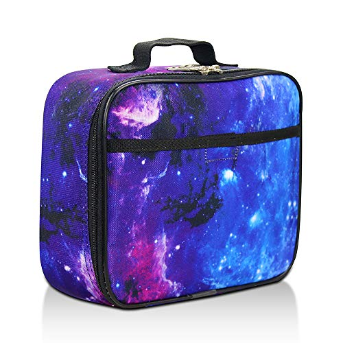 Galaxy Lunch Box for Boys, Girls by Fenrici, Kids Insulated Lunch Box, Perfect for Preschool, K-6, Soft Sided Compartments, Spacious, BPA Free, Food Safe,10.8in x 9.2in x 3.8in (Galaxy-Purple)