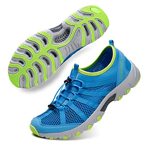 ALEADER Mens Outdoor Breathable Water Hiking Shoes, Wet-Traction Grip Funtional Boating Sneakers Sky Blue/Yellow 12 D(M) US