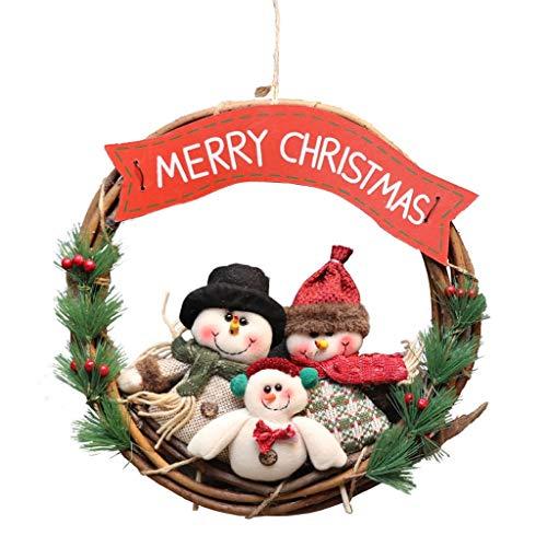 Kerstkransen for Voordeur, 14 Inch Kerstmis van de Familie Window Kransen Deur van het Huis Kerstversieringen