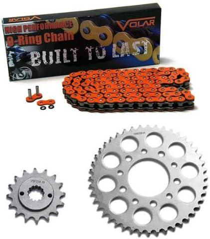 Limited price Surprise price Volar O-Ring Chain and Sprocket Kit 1989-2007 Shado Honda Orange