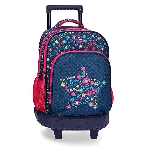 1. Movom Nice Flowers - Mochila escolar con ruedas