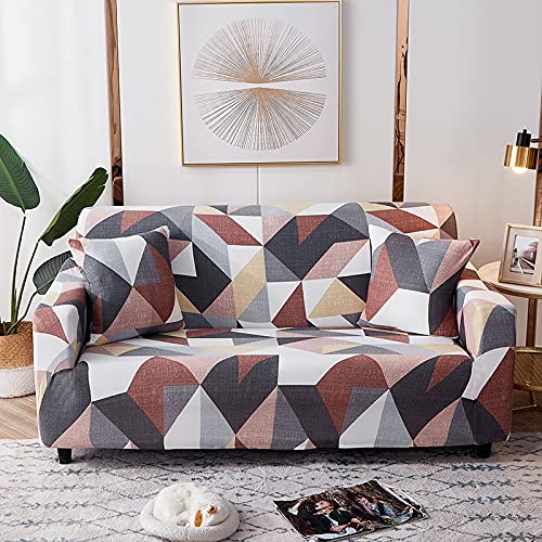 WXQY Sala de Estar geométrica combinación de Funda Protectora de sofá elástica Cubierta Protectora de sofá elástica Antideslizante Envuelta herméticamente A29 2 plazas